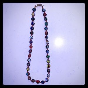 Vintage Venetian Glass Mosaic Bead Necklace